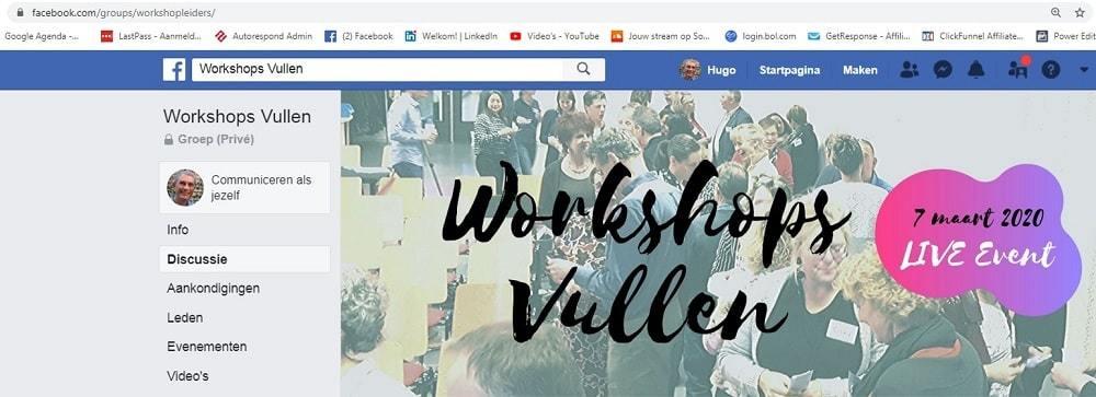 workshops vullen Facebookgroep
